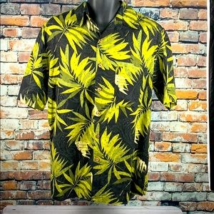 Caribbean black & green tropical silk shirt sz M